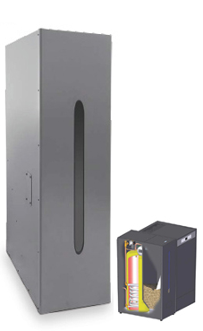 Domusa modelo Depósito de reserva con acumulador ACS inox. HTP 130-200 (200 kg.pellet-150 litros ACS) caldera de biomasa para pellets